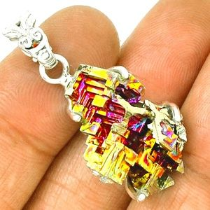 Beautiful Bismuth Crystal Pendant with Chain